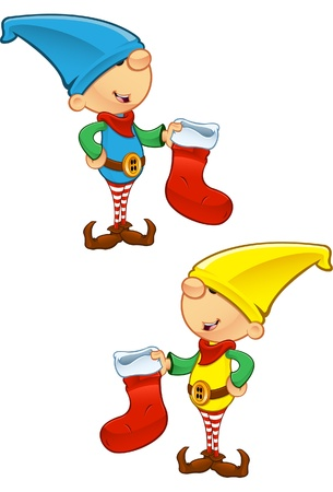 A vector illustration of an Elf holding a Stocking. Vector