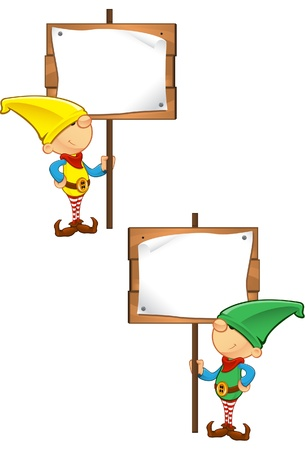 A vector illustration of an Elf holding a wooden sign.