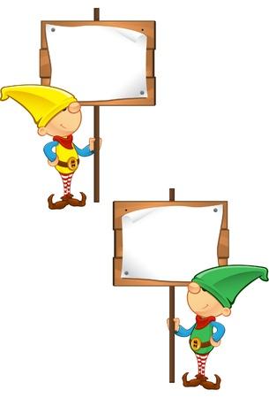 Een vector illustratie van een Elf die een houten bord. Stock Illustratie