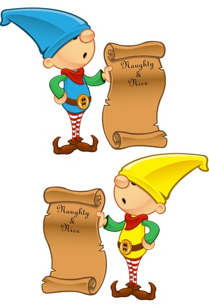 duendes: Una ilustraci�n vectorial de un Elfo sosteniendo una lista malo o bueno.