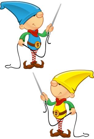 helpers: Una ilustraci�n vectorial de un elfo con una aguja e hilo.