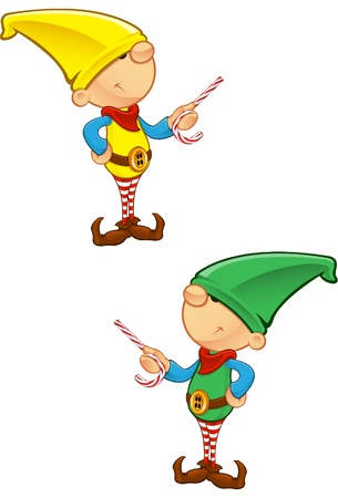 A vector illustration of an Elf Pointing with Candy.