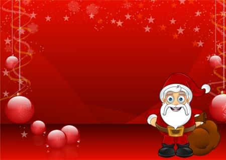 Rode Kerst Achtergrond Met Kerstman - 1
