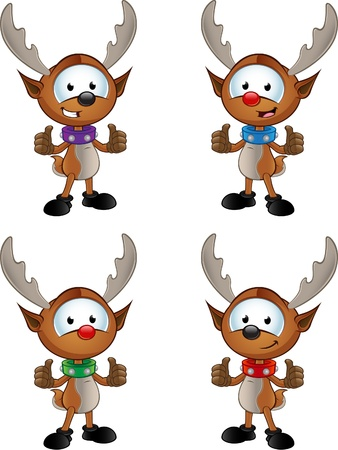 two thumbs up: Reindeer Character - Two Thumbs Up Illustration