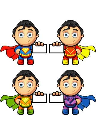 Een Super Man karakter houden een Visitekaartje