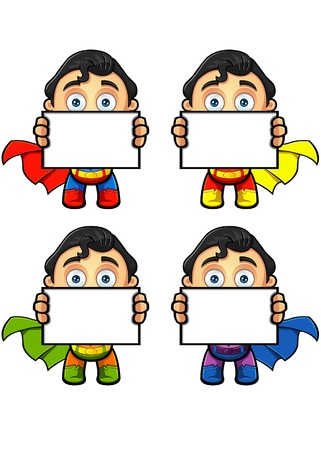 A Super Man Character Holding Blank Board Illustration