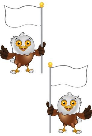 Bald Eagle Character holding blank flag