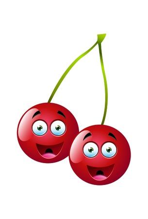 Kersen fruit gezichtsuitdrukking