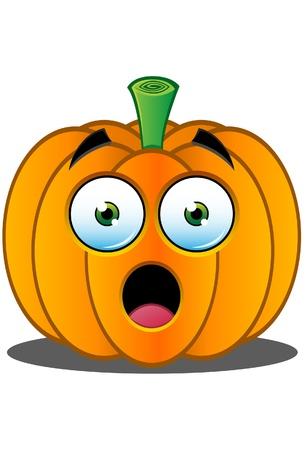 calabaza caricatura: Naranja expresión de fruta