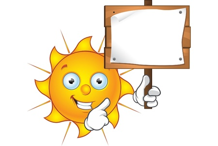 Sun Character Holding blank Sign