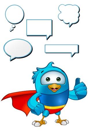 Super Blue Bird Giving A Thumbs Up Stock Vector - 20867463