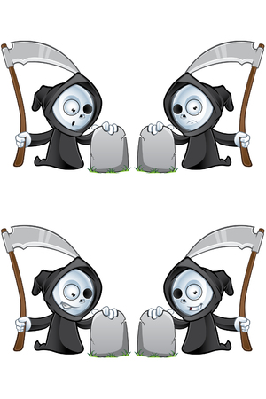 A cute little grim reaper illustration with different facial expressions