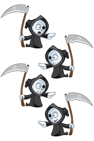A cute little grim reaper illustration with different facial expressions  Vector