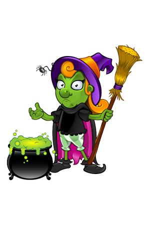 unsure: Witch - Guardando Incerto Con Calderone Vettoriali