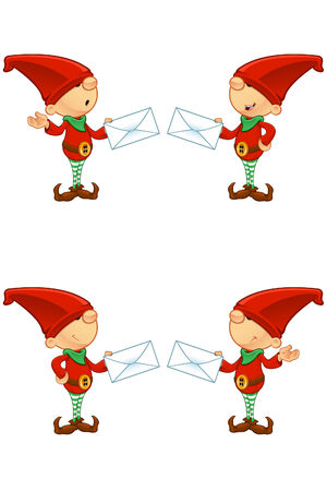 Red Elf - Holding Letter Vector