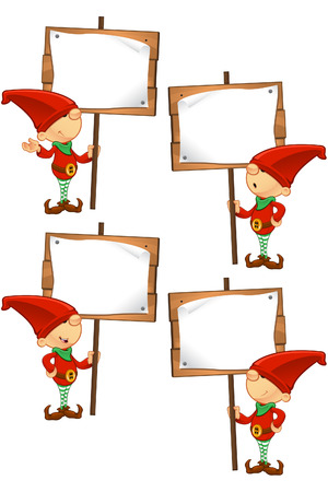 Red Elf - Holding Wooden Sign Vector