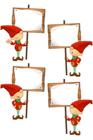 Red Elf - Holding Houten Teken Stock Illustratie