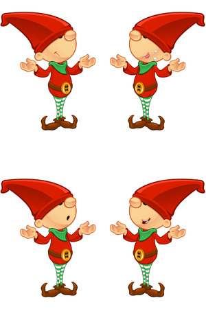 christmas elf: Red Elf - Confused Illustration