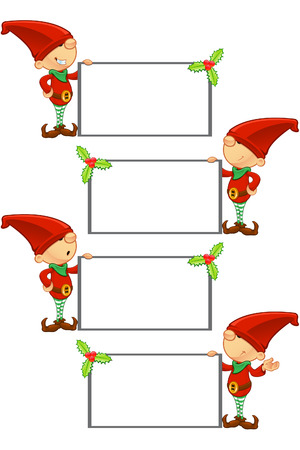 Red Elf - Holding Blank Board Vector