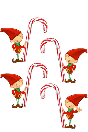 Red Elf - Holding Candy Cane Illustration