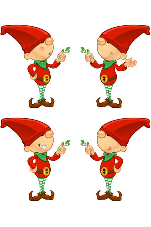 Red Elf - Holding Mistletoe Vector