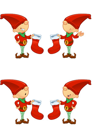 Red Elf - Holding Stocking Vector