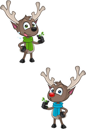 cartoon reindeer: Cartoon Reindeer - Holding Mistletoe