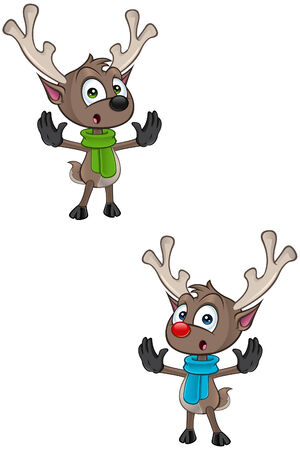 cartoon reindeer: Cartoon Reindeer - Saying Stop