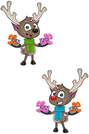cartoon reindeer: Cartoon Reindeer - Holding Presents