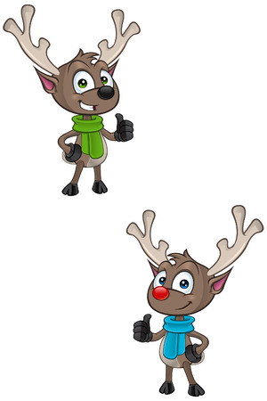 cartoon reindeer: Cartoon Reindeer - Thumbs Up