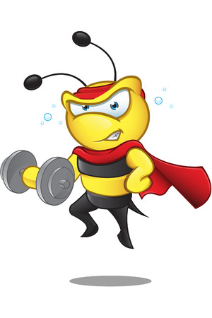 superpower: Super Bee - Weight Lifting Illustration
