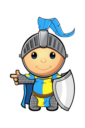 Blue and Yellow Knight Character Stock Illustratie