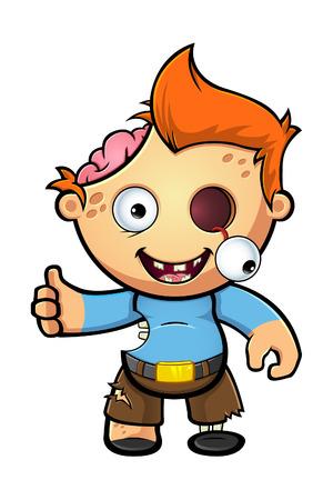 Een Cartoon Zombie Boy
