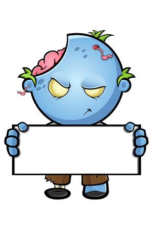 Blauwe Cartoon karakter van de Zombie Stock Illustratie