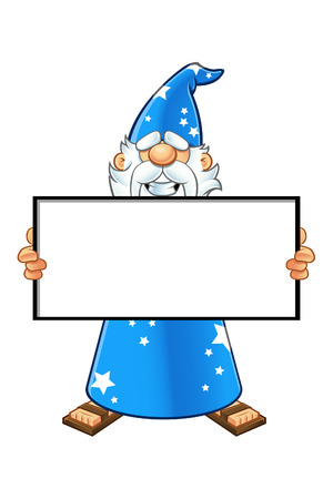 Blue Old Wizard Character Vector