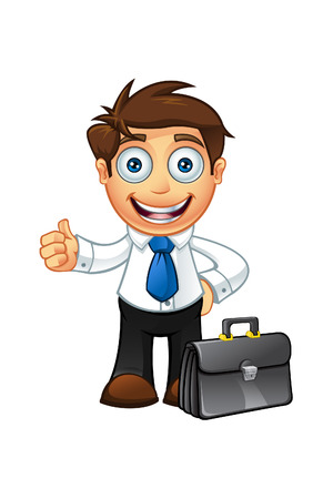 Blue Tie Business Man Character Illustration