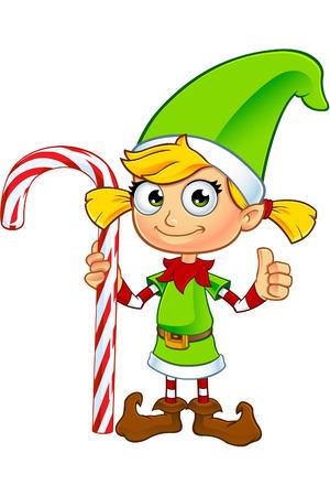 Girl Elf Character In Green Vector