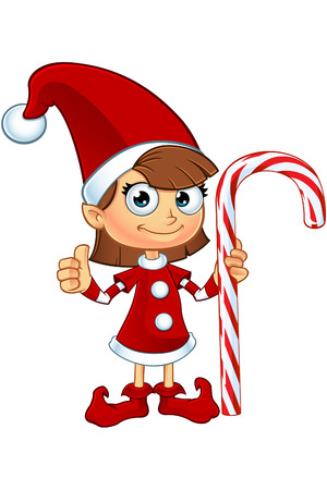 Meisje Elf karakter Op Rood