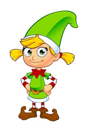 Elf Girl Karakter In Groen Stock Illustratie