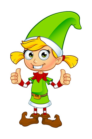 elf cartoon: Girl Elf Character In Green