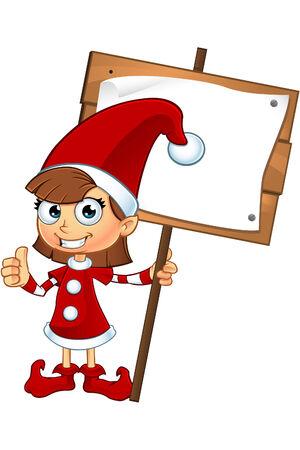 Girl Elf Character In Red Vector
