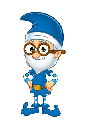 Oude Elf Karakter in Blauw Stock Illustratie