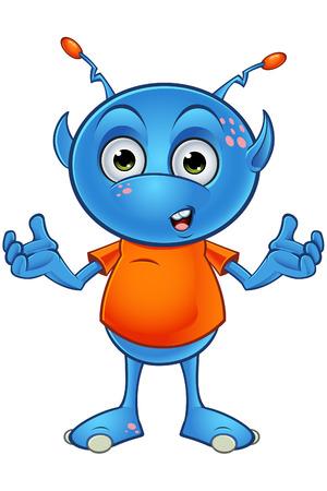Lichtblauw Alien Karakter Stock Illustratie