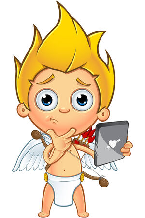 A cartoon illustration of a little cupid character with blonde hair. Stock Illustratie