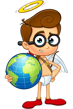 geeky: A cartoon illustration of a Geeky Looking cupid character.