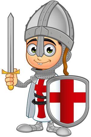 cartoon knight: St. George Boy Knight Character Illustration