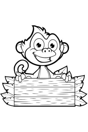 cheeky: Cheeky Monkey Character In Black And White