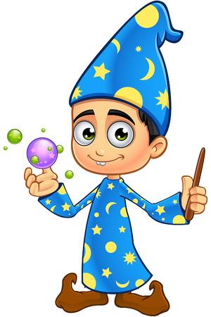 Jongen Wizard In Blue Vector Illustratie