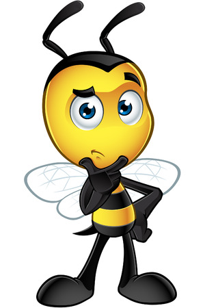 A cartoon illustration of an cute looking Little Bee Character.