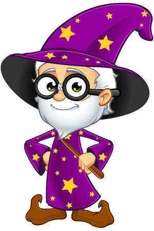 A cartoon illustration of an Old Wizard character dressed in a purple robe.